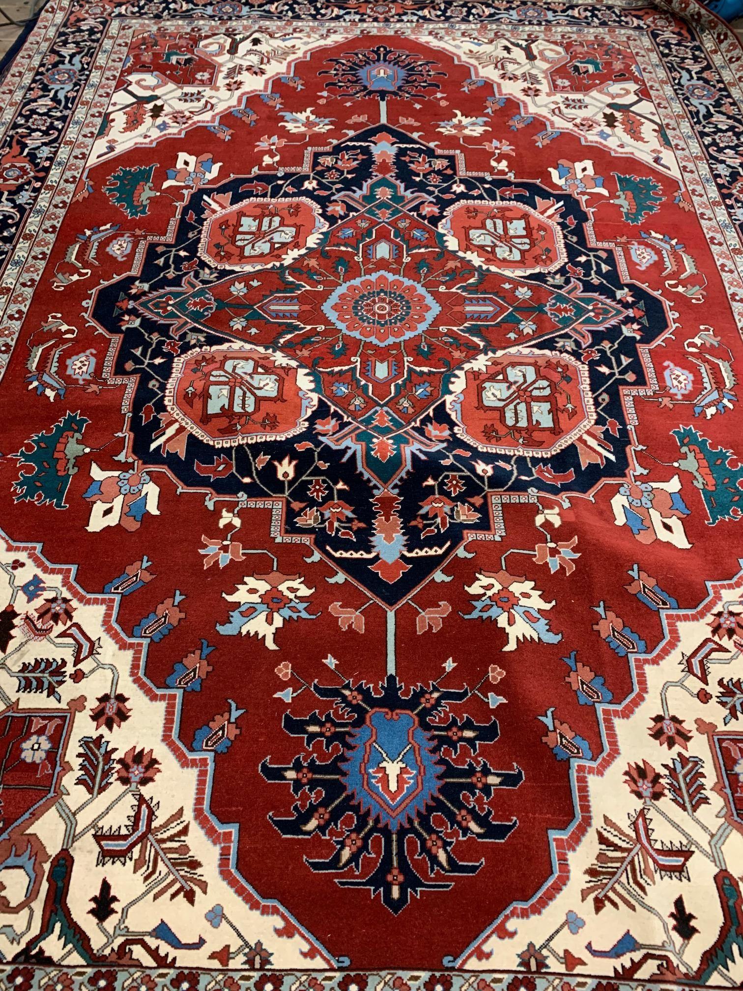 Hand Knotted Persian Heriz Serapi 9.8x14 ft .Free