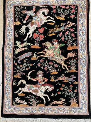 Hand Knotted Persian Qum Silk 3x2 ft .Free Shipping