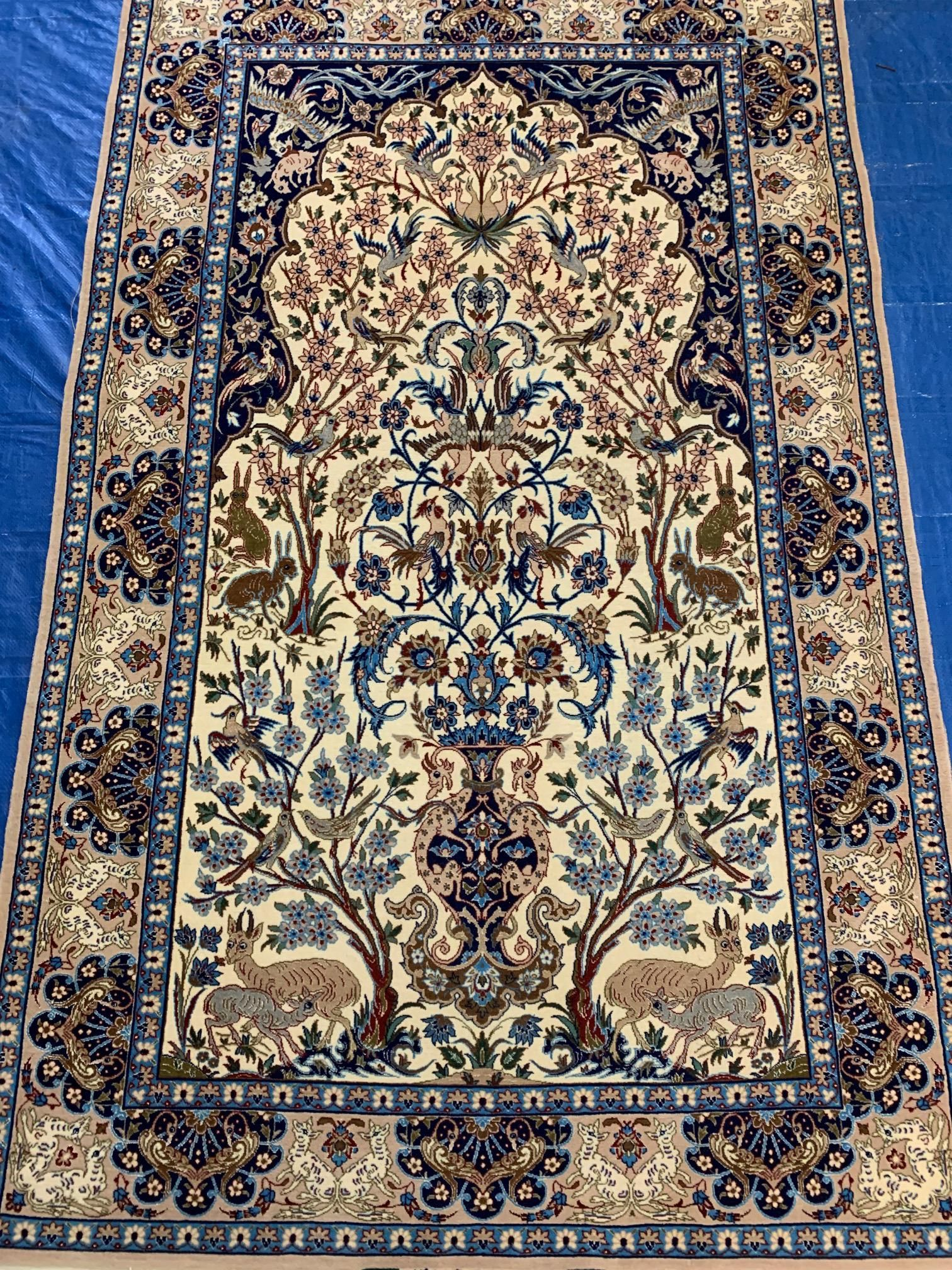 Hand Knotted Persian Silk&Wool Esfahan 3.3 x5.3 .Free