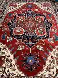 Hand Knotted Persian Heriz Serapi Rug 9.8x14 ft .Free