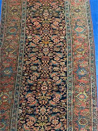 Antique Hand Knotted Persian Bijar Rug 3.5x14 ft .Free