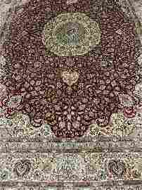 Hand Knotted Silk &Wool Tabriz  Rug 7x5 ft  .Free