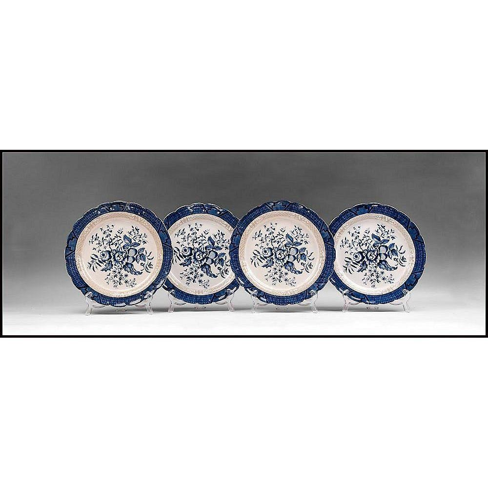 Set of 4 Booths Peony Dinner Plates, With Trim