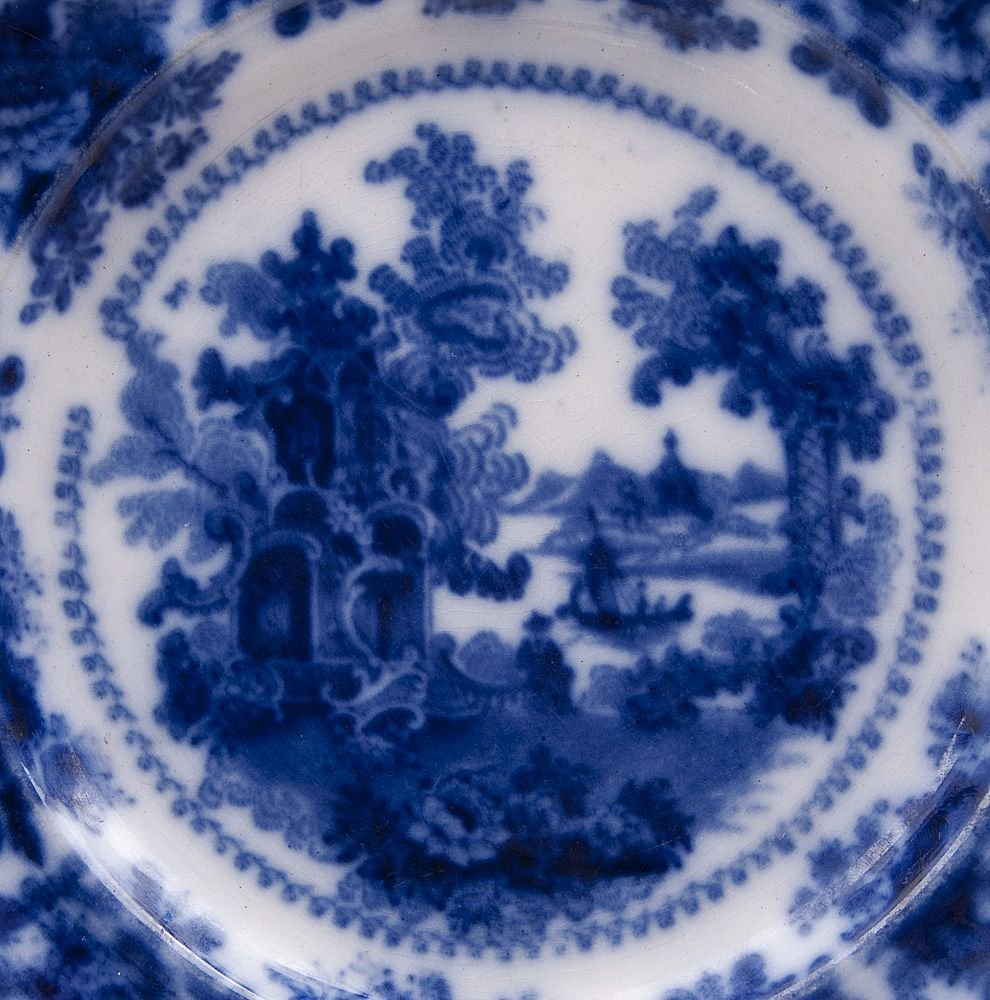 19th C. Flow Blue Staffordshire Pottery Plate - 2