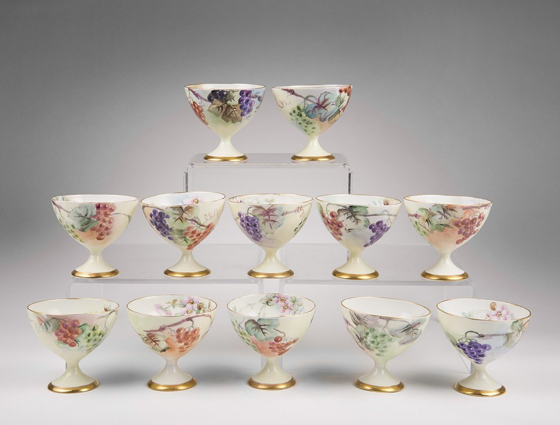 12 Hand Painted Hutschenreuther Ice Cream Goblets