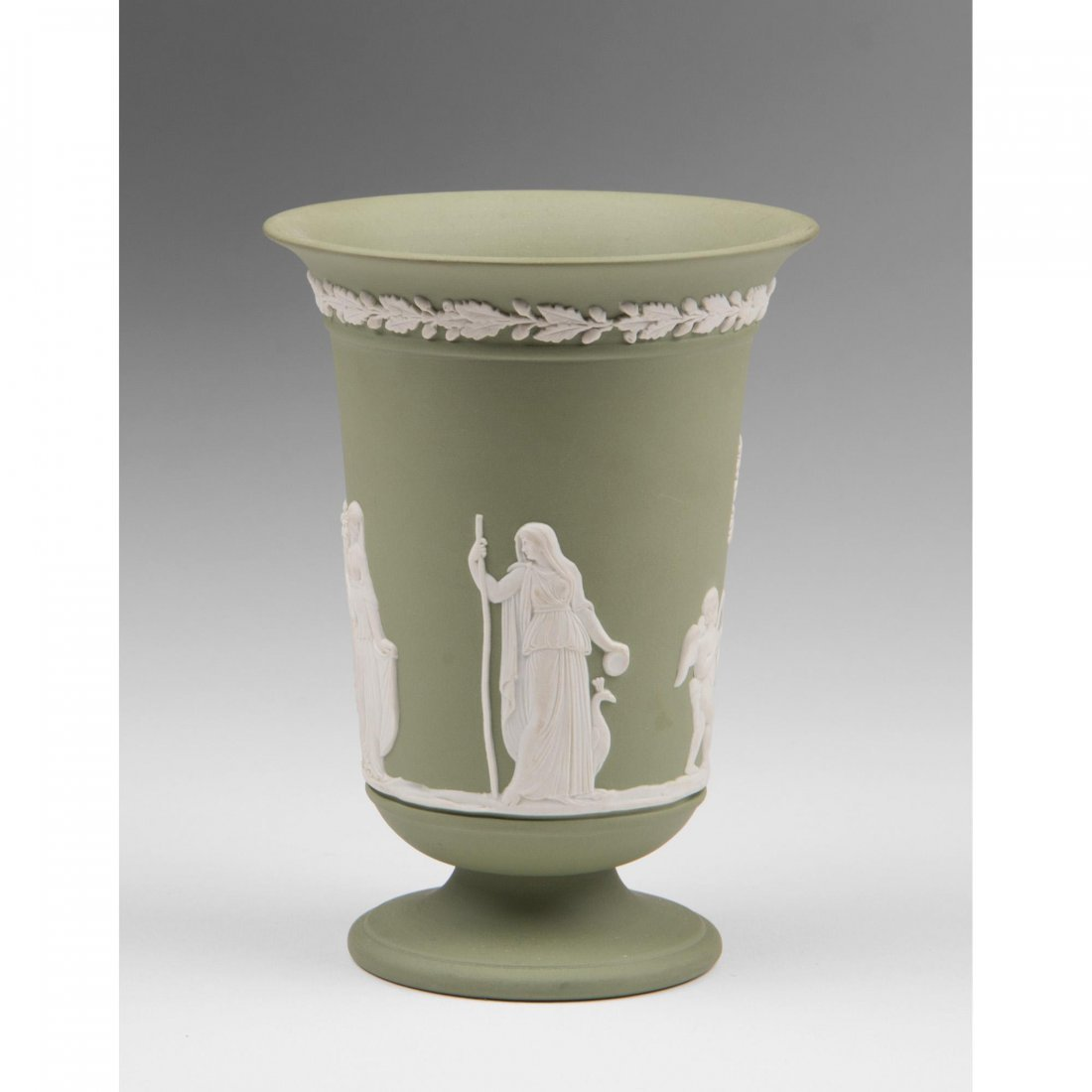Green Jasperware Wedgwood Vase