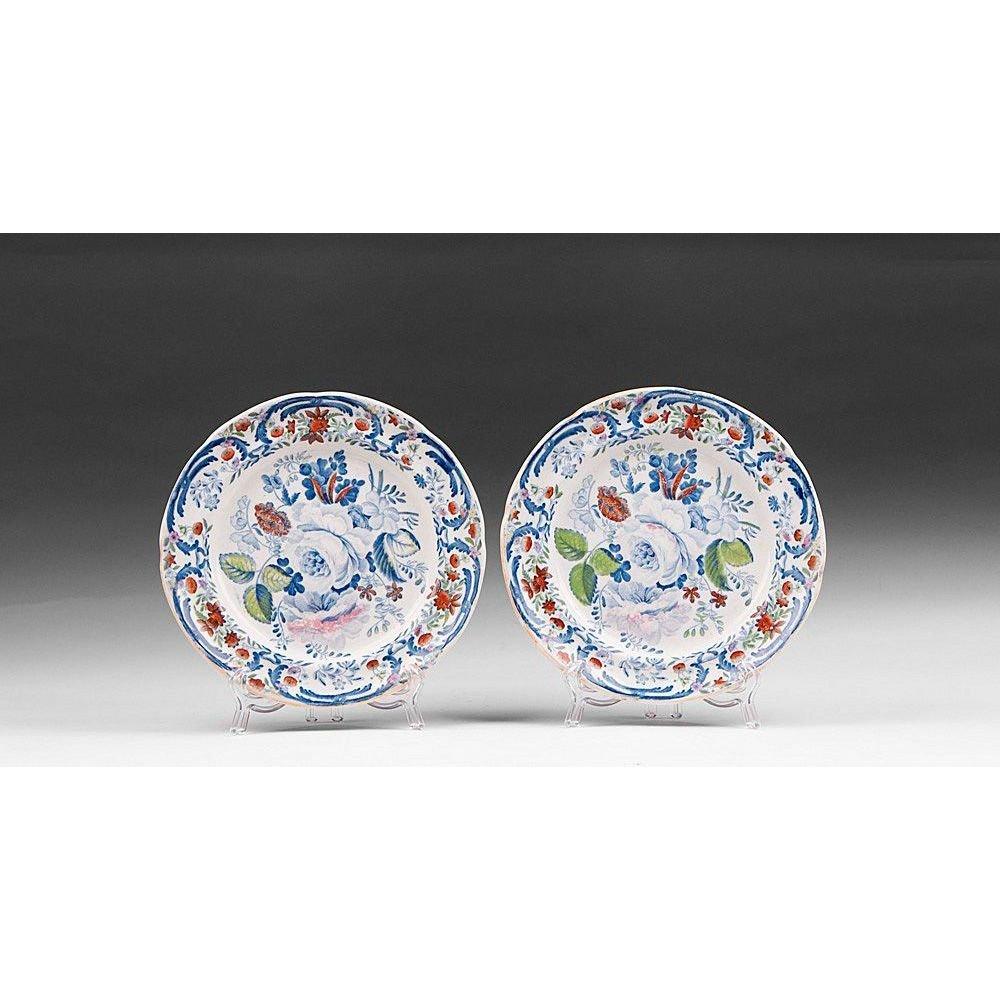 2 Ironstone Blue & White Dessert Plates, 19th C.