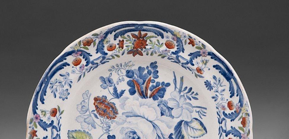 2 Ironstone Blue & White Dessert Plates, 19th C. - 4