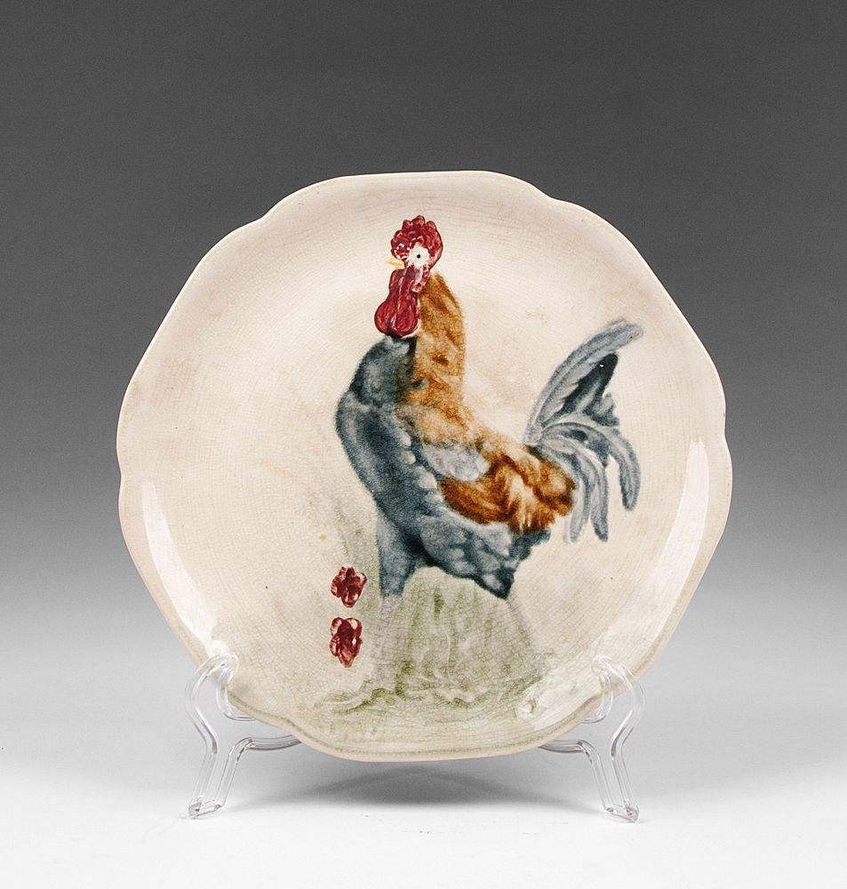 Choisy Le Roi Faience Majolica Rooster Plate