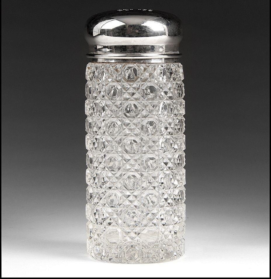 Victorian Glass Powder Jar & Silver Top
