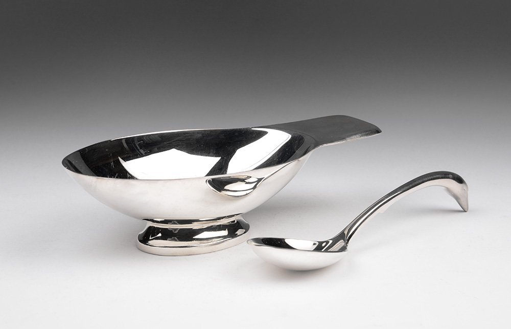 Christofle (France) Swan Gravy Boat and Ladle
