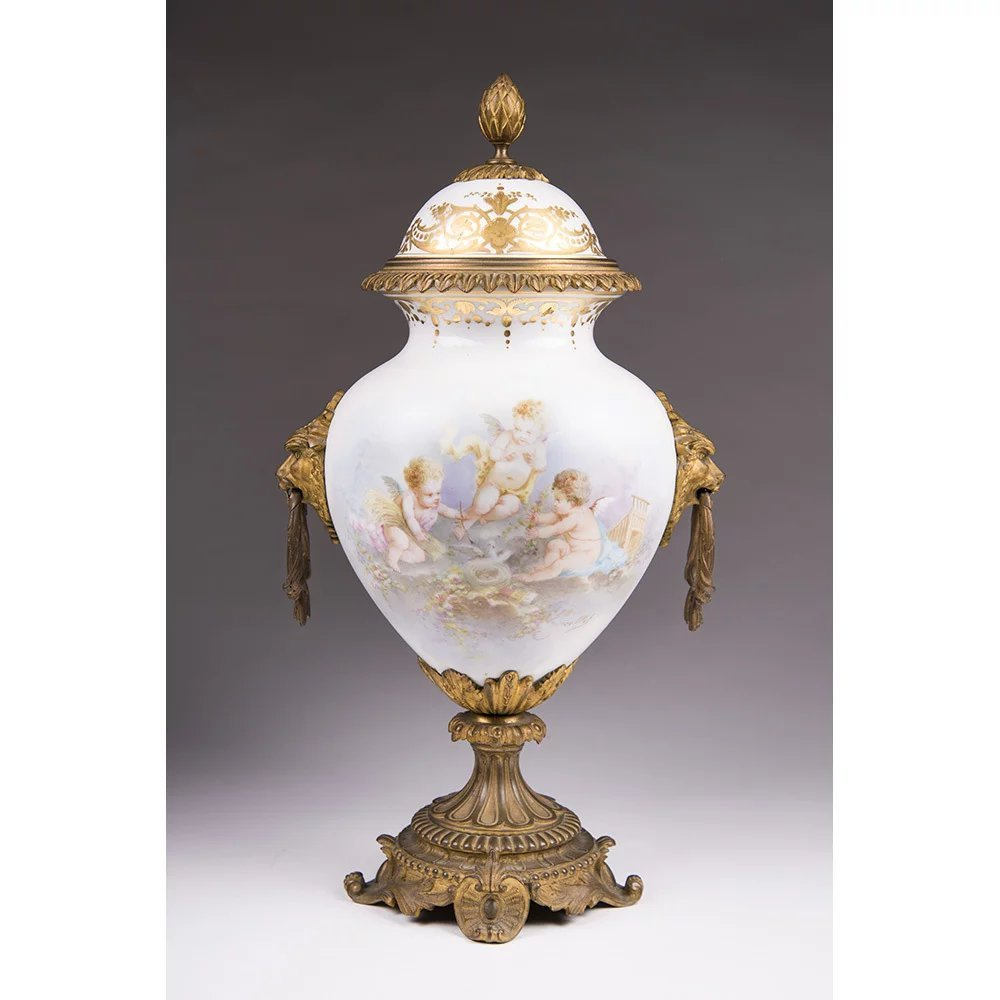 19th C. Sevres Style Porcelain Urn Mounted In Bronze