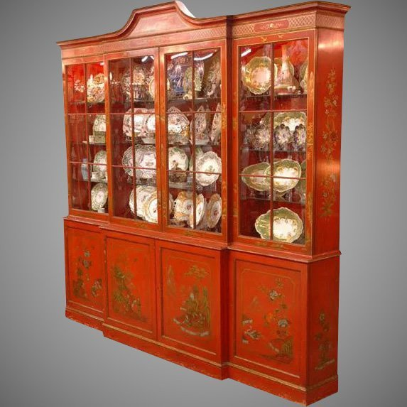 George III Style Red Chinoiserie Breakfront