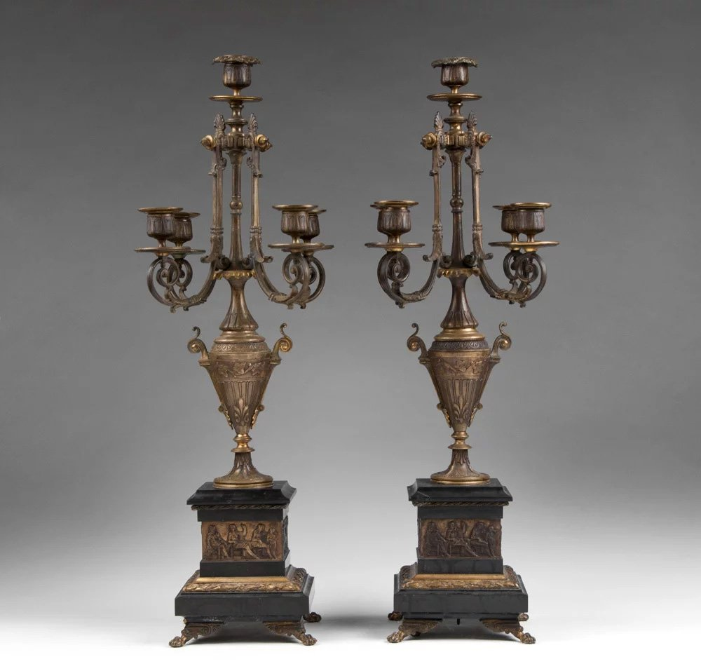 Pair of French Aesthectic Bronze & Marble Candelabras