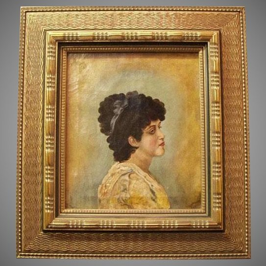 19th Century English Oil On Canvas Of Young Woman