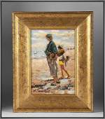Impressionist Oil on Board by W A Saunders