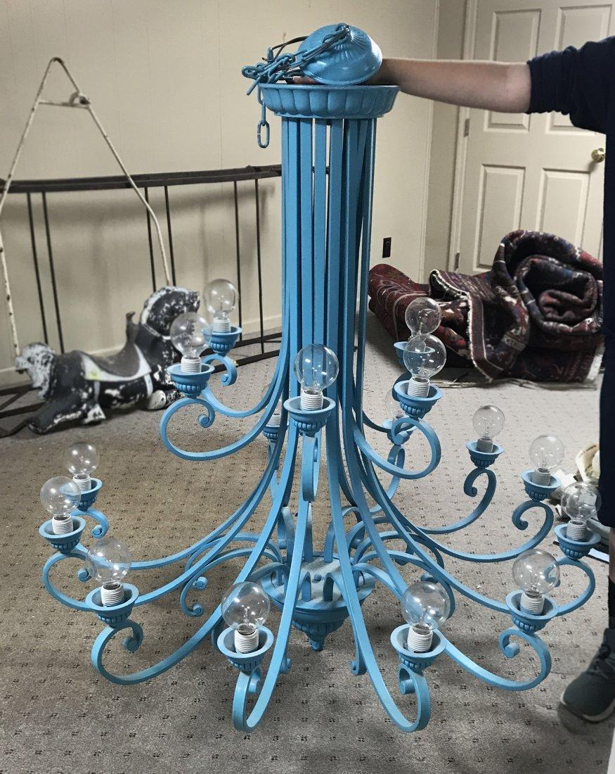 Large Blue Multi Arm Chandelier