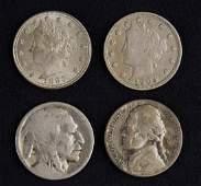 Group of 4 Nickels, Various Dates