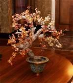Chinese Hardstone Fruit Tree Cloisonne Base