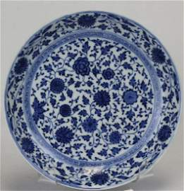 Blue and White Plate, Qing