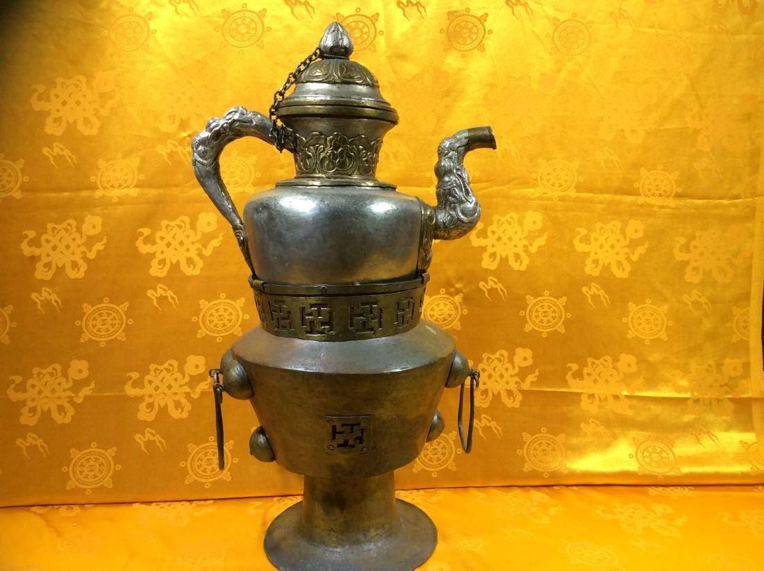 Vintage Tibetan Tea  Pot and warming set. - 2