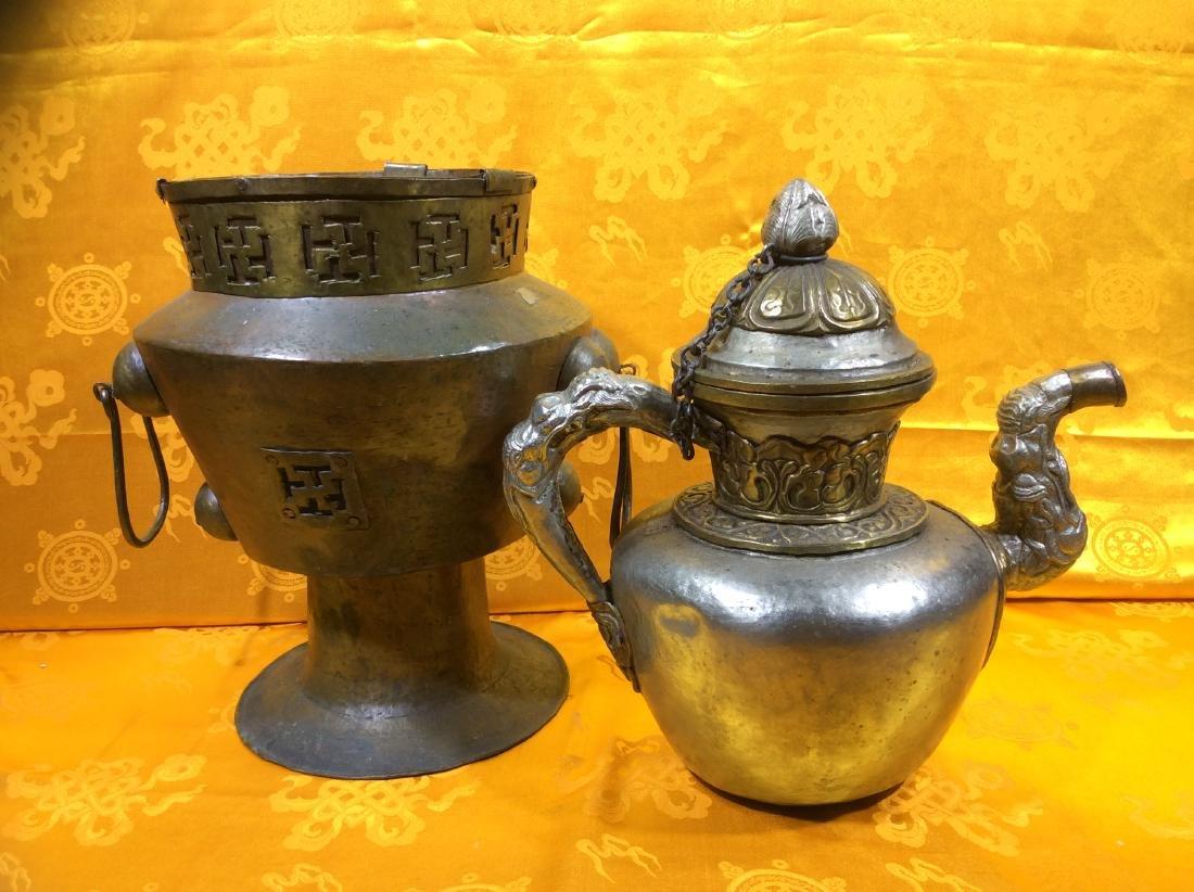 Vintage Tibetan Tea  Pot and warming set. - 3