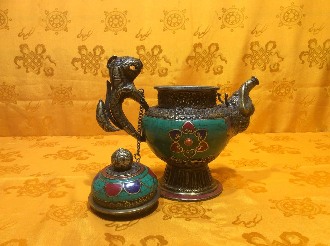 Tibetan Brass Tea Pot. - 3
