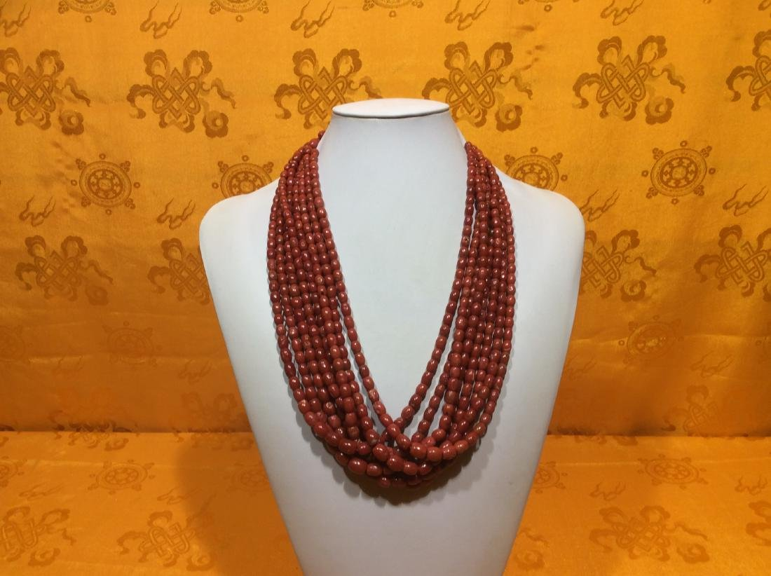Natural Antique Coral Necklace, eight strains of good