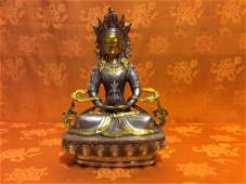 Tibetan Long Life Buddha Statue made with solid bronze