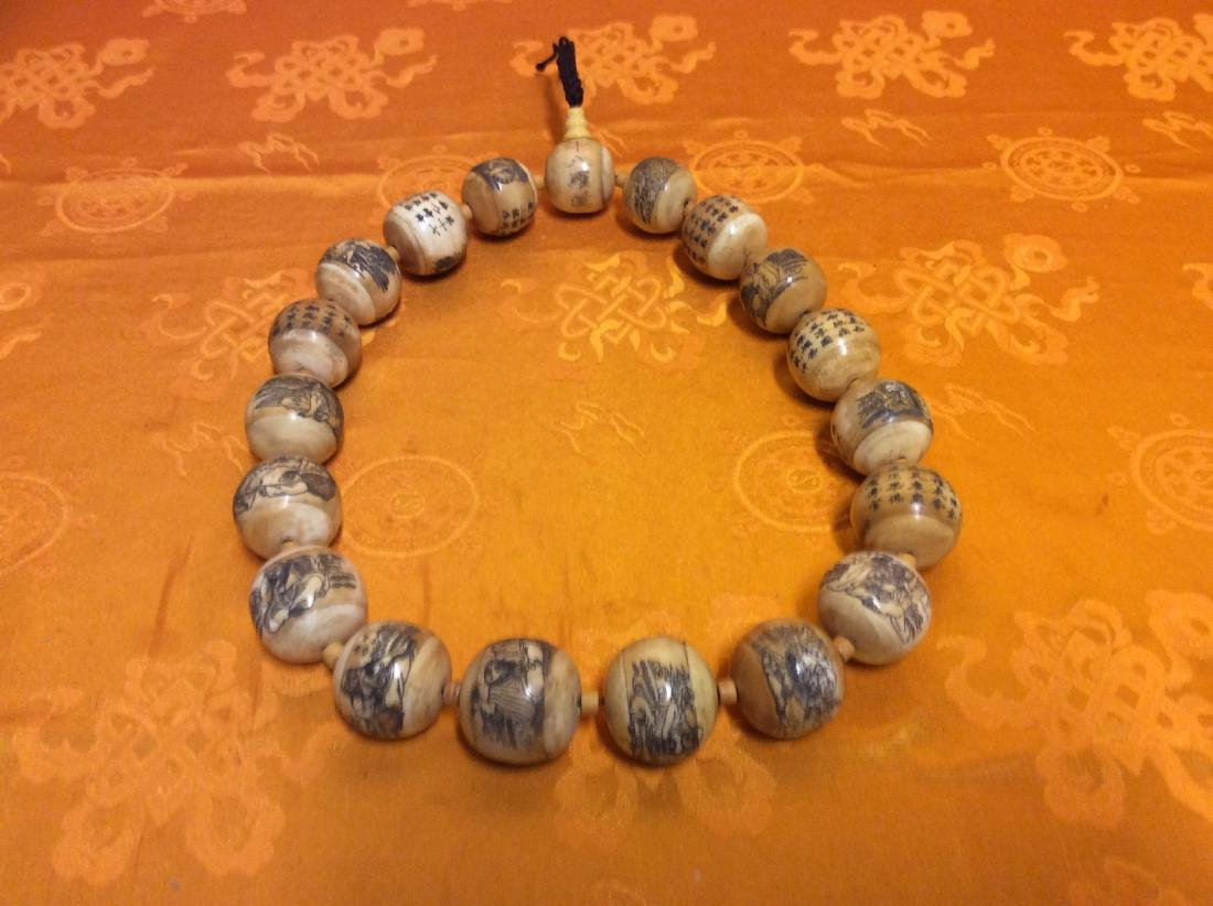 Chinese Cow Bone Necklace, All giant bone beads are