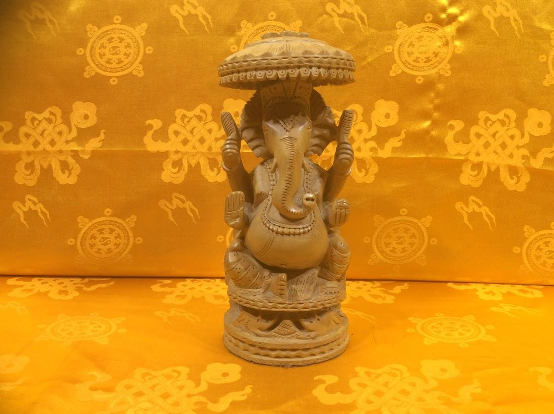 Wooden Ganesha Sculpture, detailly carved ed and hand