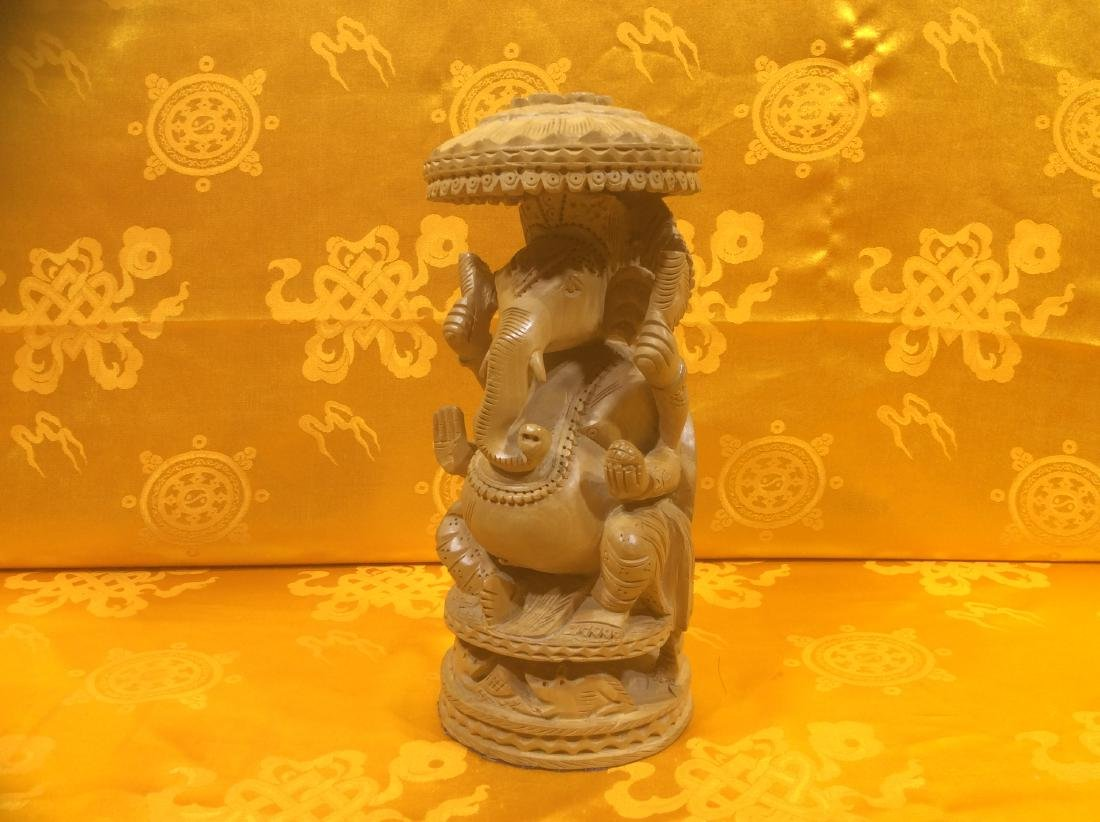Wooden Ganesha Sculpture, detailly carved ed and hand - 2