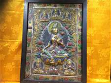Green Tara Thanka, made with solid bronze, very finely