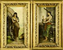 19C pair of signed continental oil on canvas