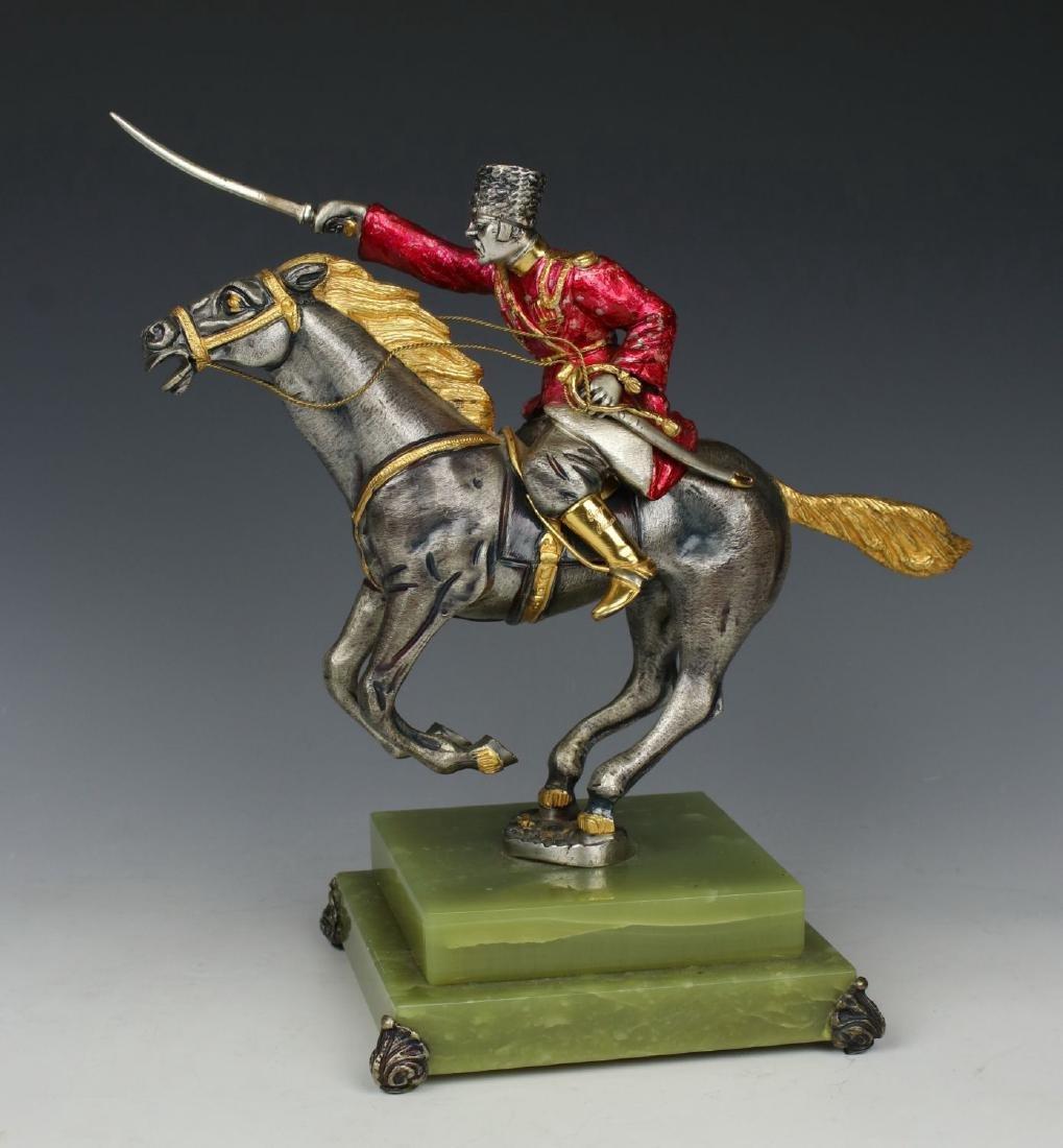 "Giuseppe Vasari Bronze & 22K Gold figurine ""Cossack on"