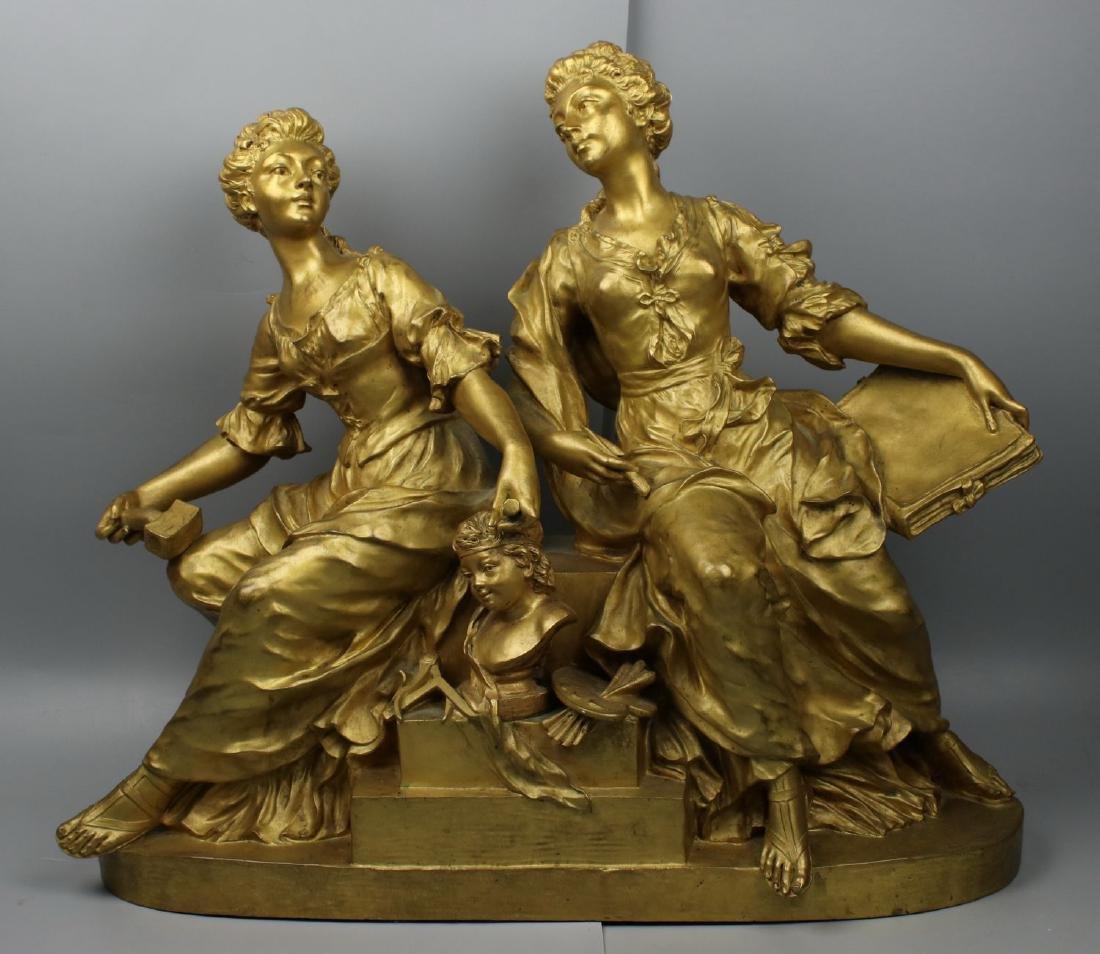"""Large 21"""" Raingo Freres (France, 19C) Bronze """"Two"""