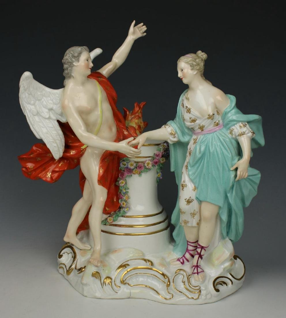 "Rare Meissen Figurine ""Woman and Angel"""