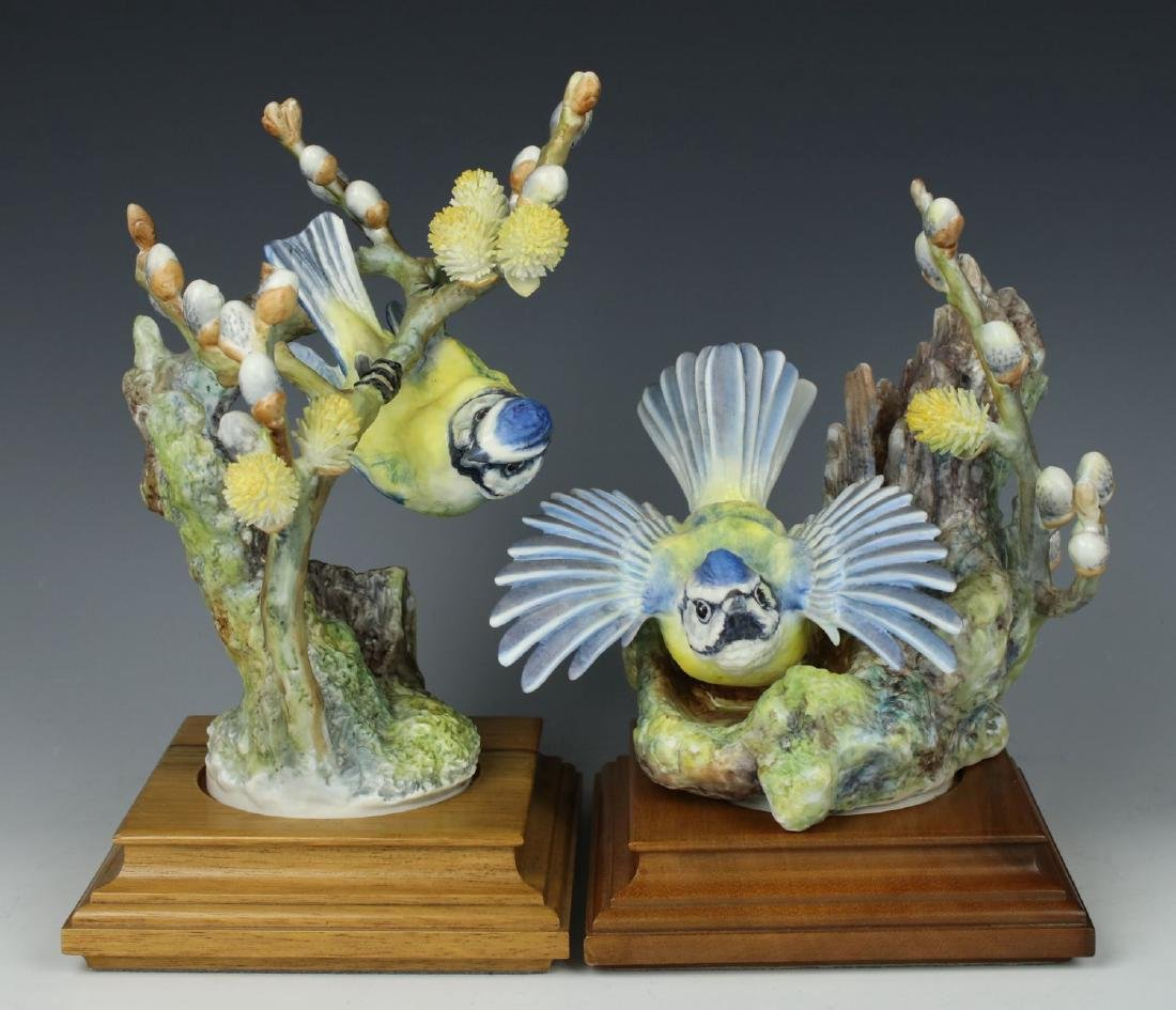 """Royal Worcester 2 Figurines """"Blue Tits and Willow"""""""