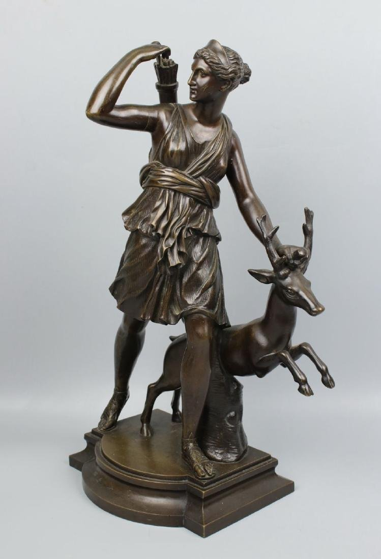 "Susse Freres (French,19C) Bronze ""Diana Huntress with"