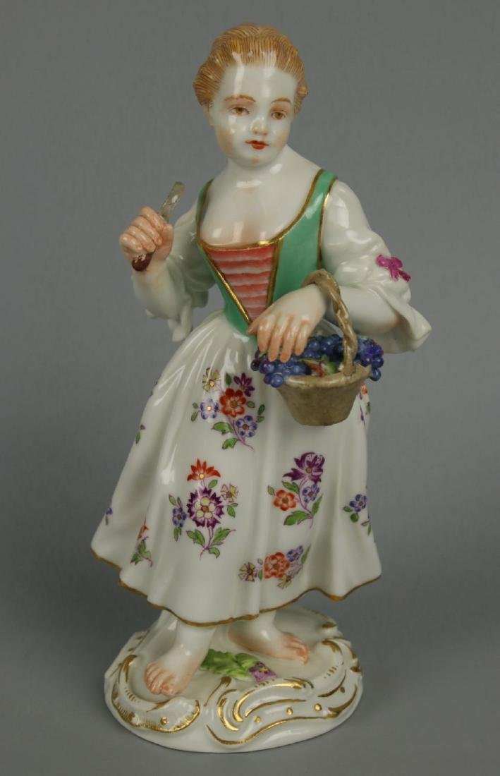 "Meissen Kaendler Figurine ""Girl With Knife And Basket"""