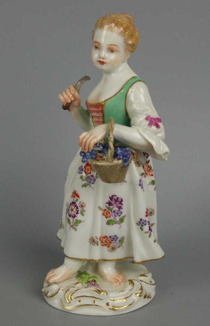 "Meissen Kaendler Figurine ""Girl With Knife And Basket"" - 5"