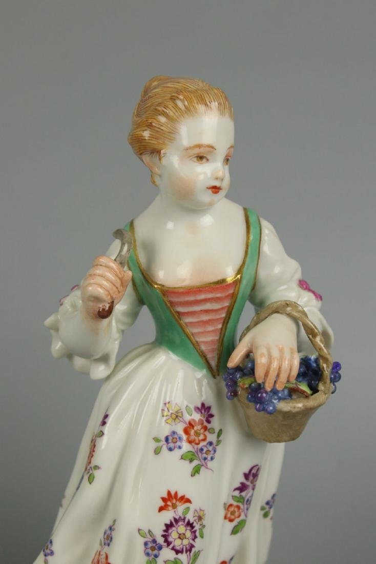 "Meissen Kaendler Figurine ""Girl With Knife And Basket"" - 6"