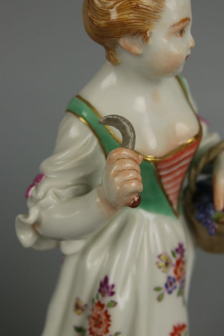 "Meissen Kaendler Figurine ""Girl With Knife And Basket"" - 7"