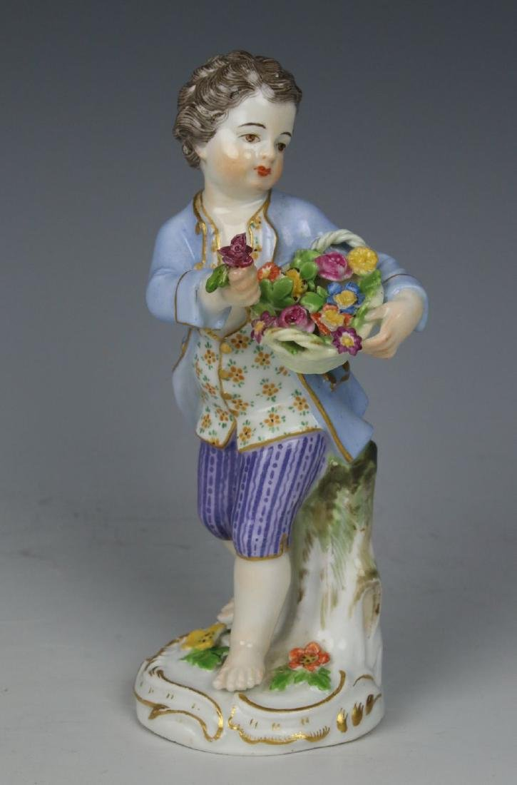 "Meissen Kaendler Figurine ""Boy With Flower Basket"""