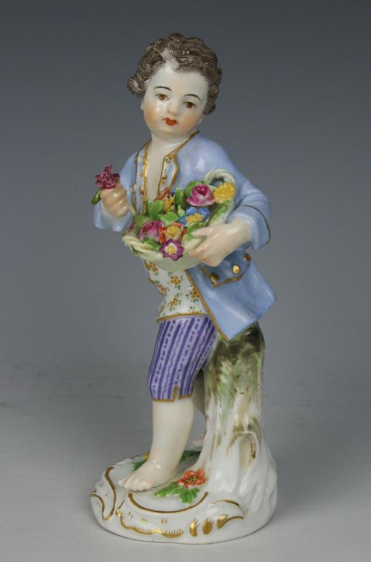 "Meissen Kaendler Figurine ""Boy With Flower Basket"" - 2"