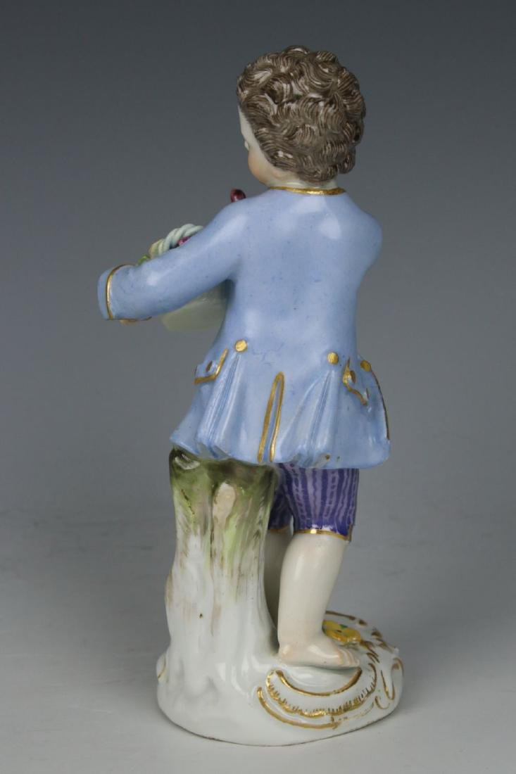 "Meissen Kaendler Figurine ""Boy With Flower Basket"" - 3"