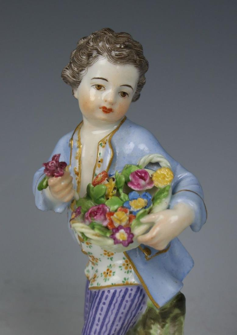 "Meissen Kaendler Figurine ""Boy With Flower Basket"" - 6"