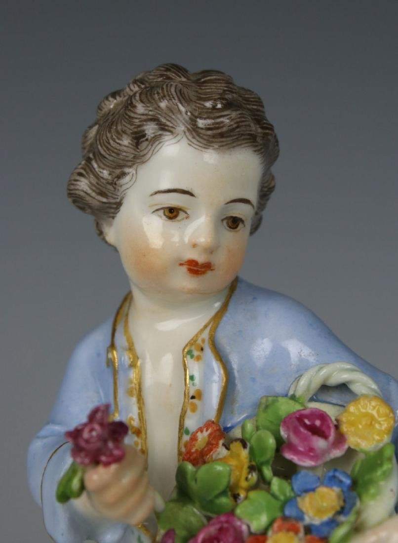 "Meissen Kaendler Figurine ""Boy With Flower Basket"" - 7"