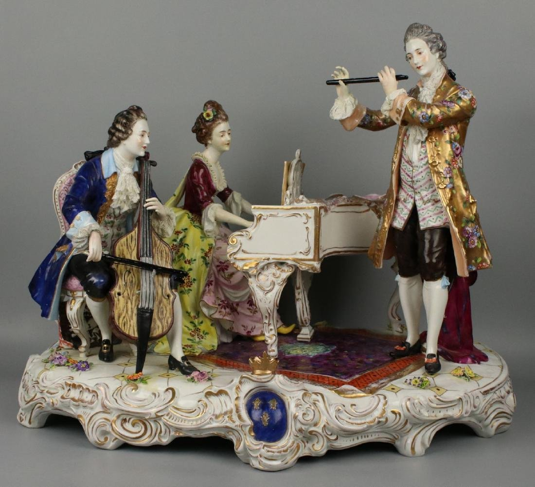"Large 19"" Dresden Volkstedt figurine ""Musical Trio"""
