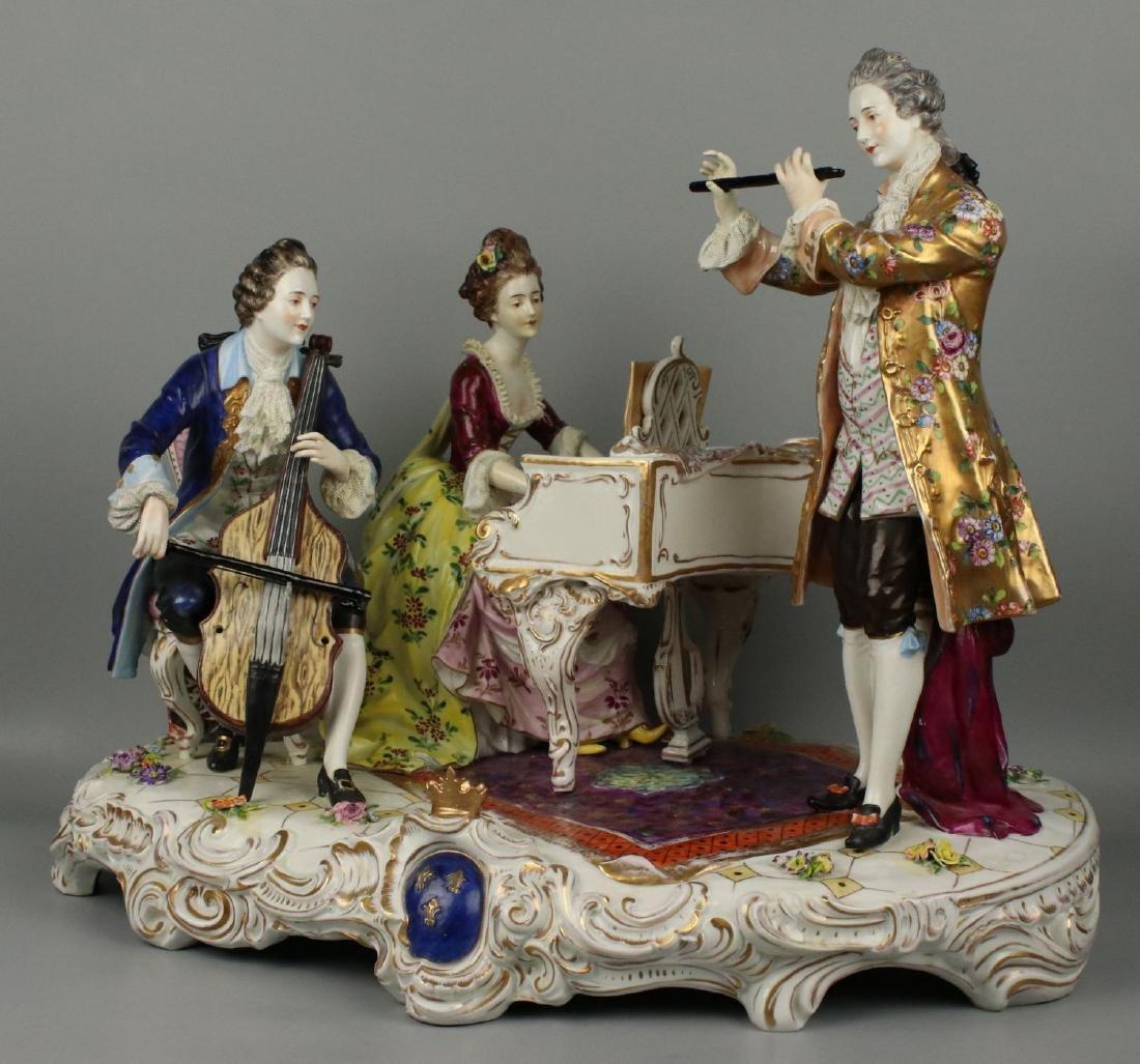 "Large 19"" Dresden Volkstedt figurine ""Musical Trio"" - 3"